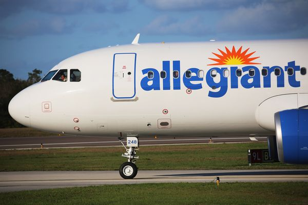 An Allegiant airlines Airbus A320-214 taxies at the Orlando Sanford airport on the way to the runway, on Wednesday, Feb. 21, 2018. (Ricardo Ramirez Buxeda/Orlando Sentinel/TNS)