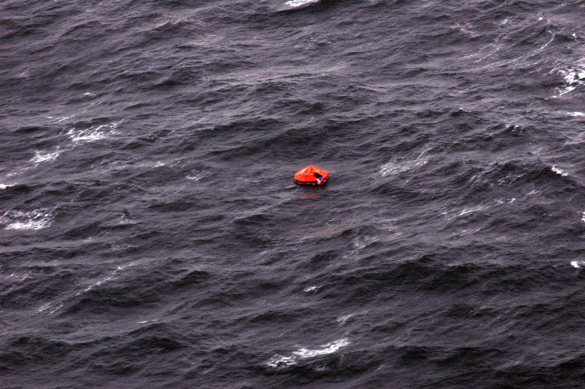 In this photo released by the U.S. Coast Guard, a life raft from the fishing vessel Alaska Ranger floats in the Bering Sea after the survivors were rescued by the Coast Guard on Sunday, March 23, 2008.