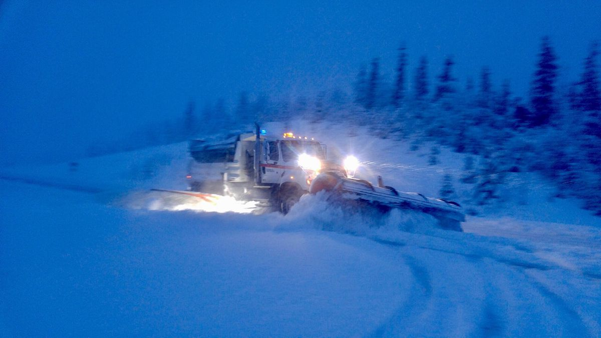 State crews were plowing the roads Wednesday after a storm dumped snow on Valdez.(Alaska Department of Transportation and Public Facilities)