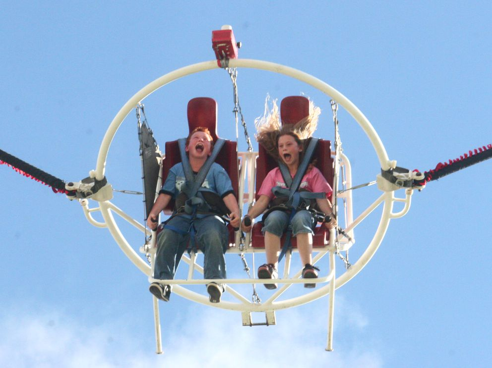 The Thrills Unlimited Ejection Seat at the Alaska State Fair in Palmer on August 27, 2006. (John Wagner / Anchorage Daily News archive 2006)