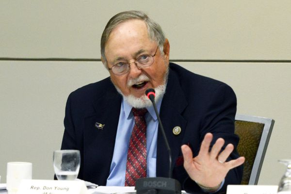 Rep. Don Young criticizes U.S. Forest Service policies during a Western Caucus Foundation Alaska Roundtable held on Thursday, August 17, 2017, at the Dena'ina Civic and Convention Center. (Erik Hill / Alaska Dispatch News)