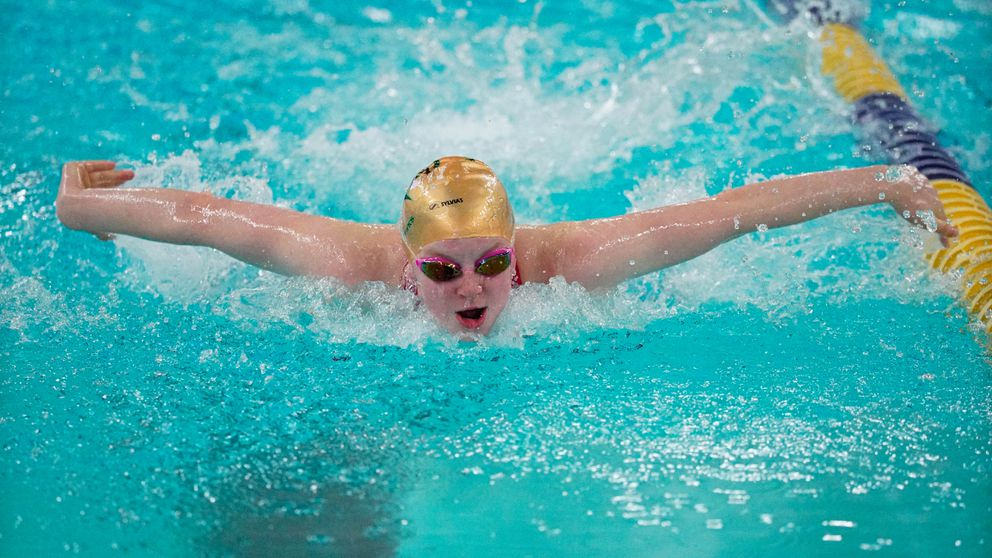 Lydia Jacoby competes in the 200-yard individual medley race at the 2019 state high school championships at Bartlett High. (Loren Holmes / ADN archives)