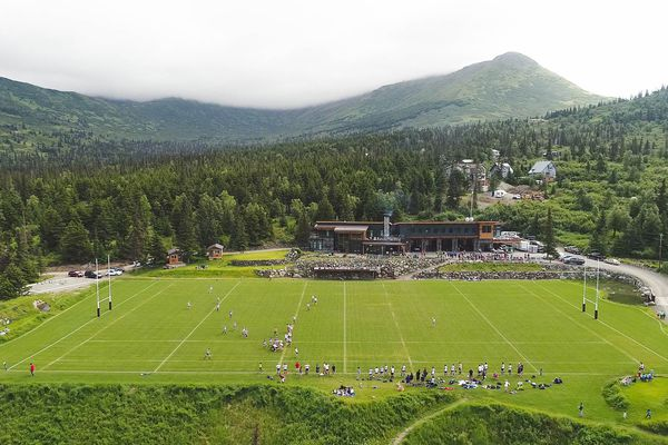 Teams play on the Alaska Mountain Rugby Grounds Saturday, July 15, 2017. (Loren Holmes / Alaska Dispatch News)