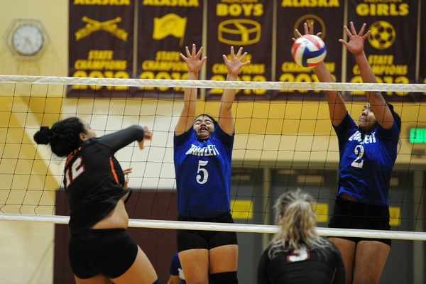 Bartlett High defeated West High 3-0, 25-19, 25-19, 25-23 in Cook Inlet Conference first round tournament play at Dimond High in Anchorage, AK on Tuesday, Oct 30, 2018. (Bob Hallinen / ADN)