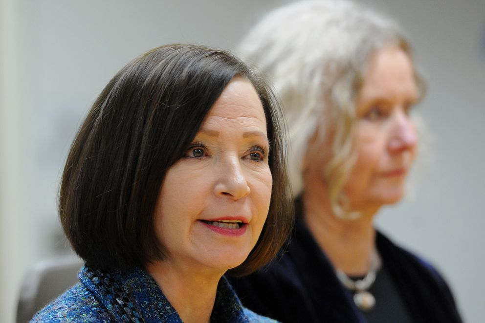 University of Alaska Anchorage Chancellor Cathy Sandeen and UAA School of Education interim director Claudia Dybdahl speak to reporters on Monday about the School of Education's loss of accreditation for its initial licensure programs. (Bill Roth/ ADN)