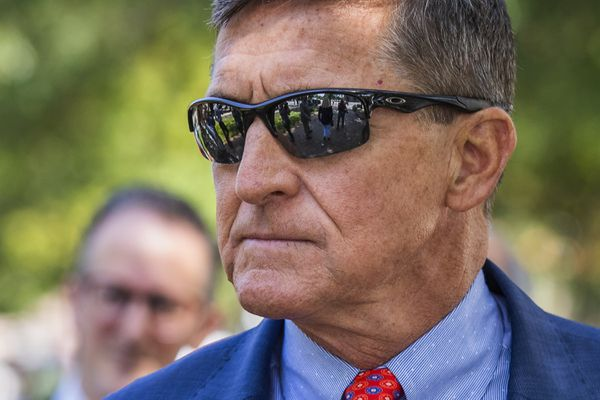 FILE - In this Sept. 10, 2019, file photo Michael Flynn, President Donald Trump's former national security adviser, leaves the federal court following a status conference with Judge Emmet Sullivan, in Washington. (AP Photo/Manuel Balce Ceneta, File)