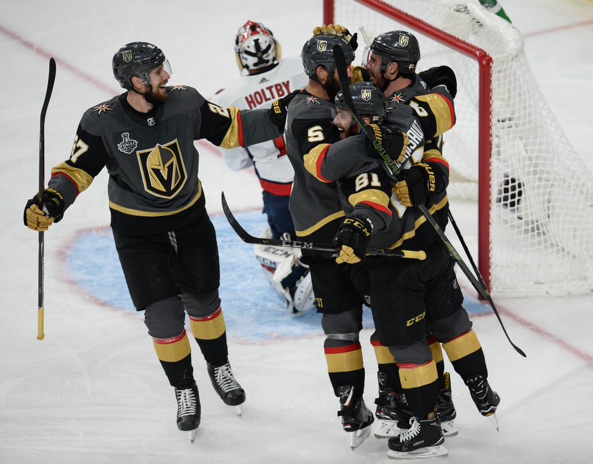 Las Vegas Golden Knights right wing Reilly Smith (19) celebrates with teammates Monday afterhe scored a goal against the Washington Capitals in game one of the 2018 Stanley Cup Finals. (Gary A. Vasquez-USA TODAY Sports)