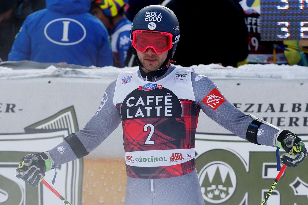 FILE PHOTO: Alpine Skiing - FIS Alpine Skiing World Cup - Men's Alpine Giant Slalom - Alta Badia, Italy - December 17, 2017 - Mathieu Faivre of France reacts after finishing the run. REUTERS/Stefano Rellandini/File Photo