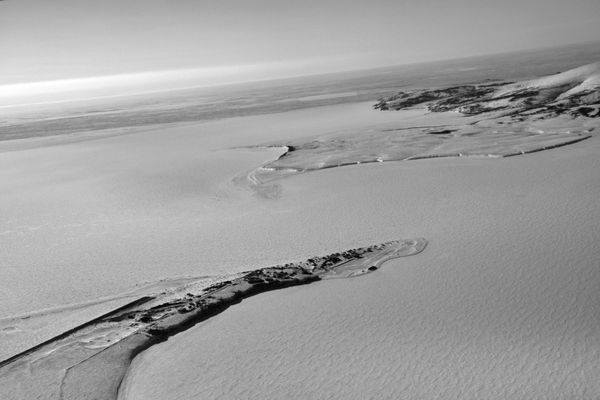 Aerial photograph of Golovin, AK ,Thursday March 17, 2011. Photographed from a K2 Aviation Cessna 185 piloted by Warren Woods. (Bob Hallinen / ADN archive 2011)