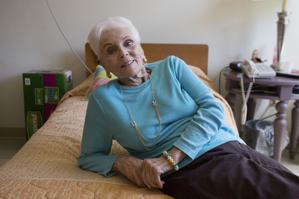 "Beverly Herzog in her room at the Hebrew Home at Riverdale, in the Bronx borough of New York, July 1, 2016. Nursing homes across the country are increasingly supportive of residents pursuing intimate relationships; Herzog, now widowed, misses the intimacy of marriage.""I hate getting into a cold bed,"" she said. ""I feel no one should be alone."" (James Estrin / The New York Times)"