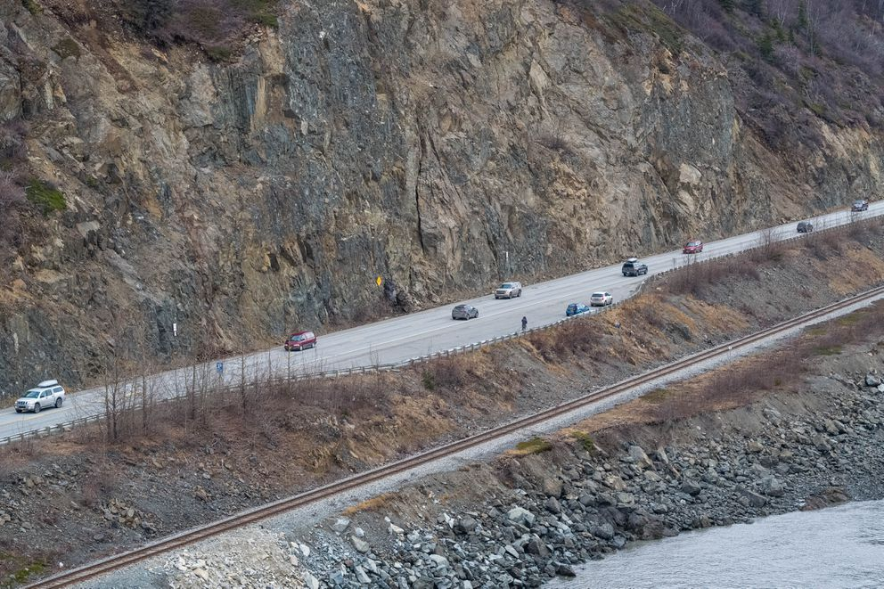 The site of a popular former water pipe is covered with rocks at mile 109 of the Seward Highway Wednesday, March 27, 2019. The Alaska Department of Transportation and Public Facilities cited safety concerns in an email announcing the closure of the pipe. (Loren Holmes / ADN)