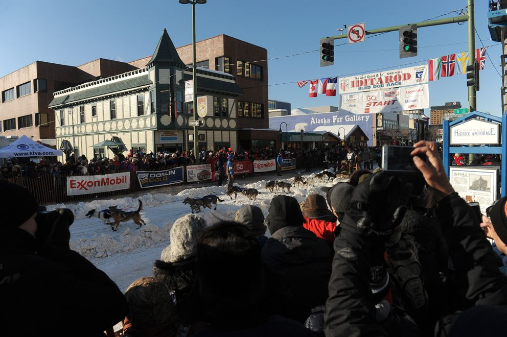 Iditarod musher Wade Marrs, from Willow, Alaska, leaves the start line of the ceremonial start of the 2017 Iditarod Trail Sled Dog Race in Anchorage, Alaska on Saturday, March 4, 2017. (Bob Hallinen / ADN)