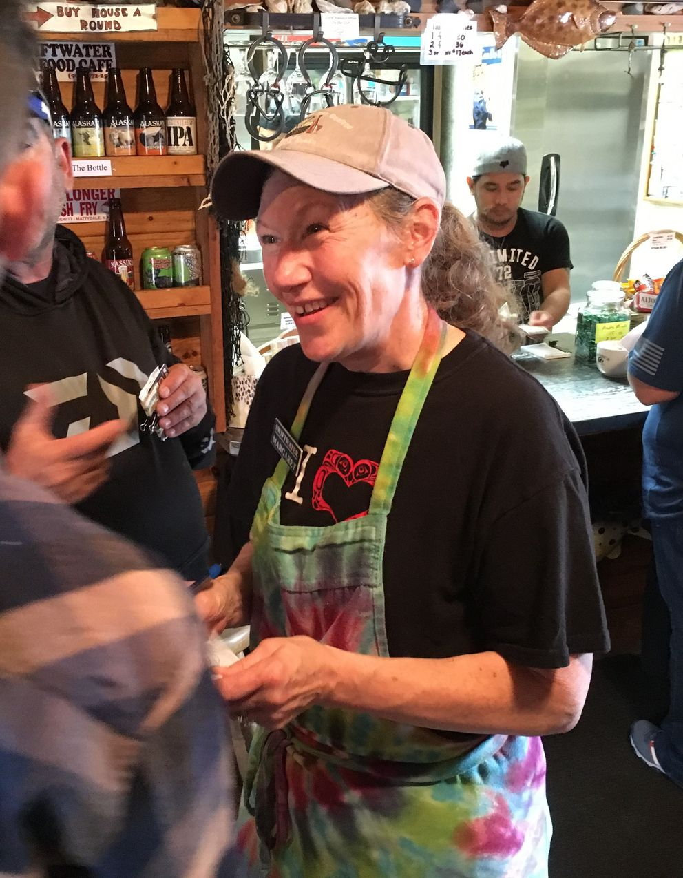 Margaret Varlamos takes orders amid a heavy rush of customers at Varley's Swiftwater Cafe on July 22, 2018. (Charles Wohlforth / ADN)