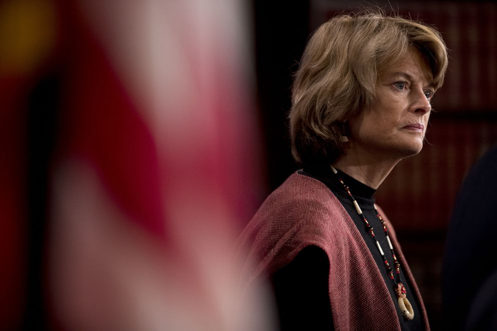 Sen. Lisa Murkowski, R-Alaska, appears at a news conference after two Senate bills to ending the partial government shutdown failed on Capitol Hill in Washington, Thursday, Jan. 24, 2019. (AP Photo/Andrew Harnik)