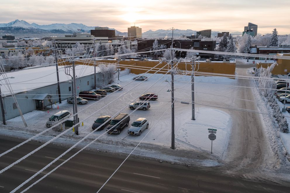 A city-owned underutilized lot, the site of a former electrical substation, sits next to the Salvation Army store in Midtown Anchorage on Tuesday. The site is being assessed for possible environmental mitigation by the city. (Loren Holmes / ADN)