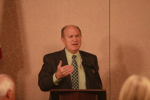 Alaska Gov. Bill Walker speaks to the Juneau Bar Association at a lunch Friday, April 14, at the Baranof Hotel in Juneau. (Nathaniel Herz / Alaska Dispatch News)