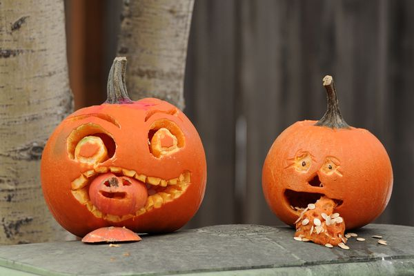 Creepy jack-o'-lanterns are displayed along Forest Park Drive on Wednesday afternoon, Oct. 26, 2016, in west Anchorage. (Erik Hill / Alaska Dispatch News)
