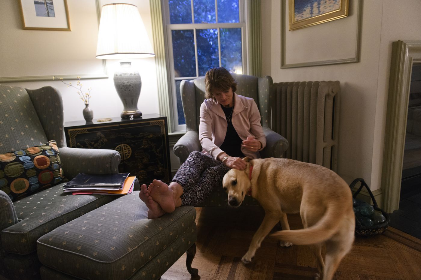 Sen. Lisa Murkowski greets her son Nic's dog, Annie, in her Washington home on June 18, 2019. (Marc Lester / ADN)