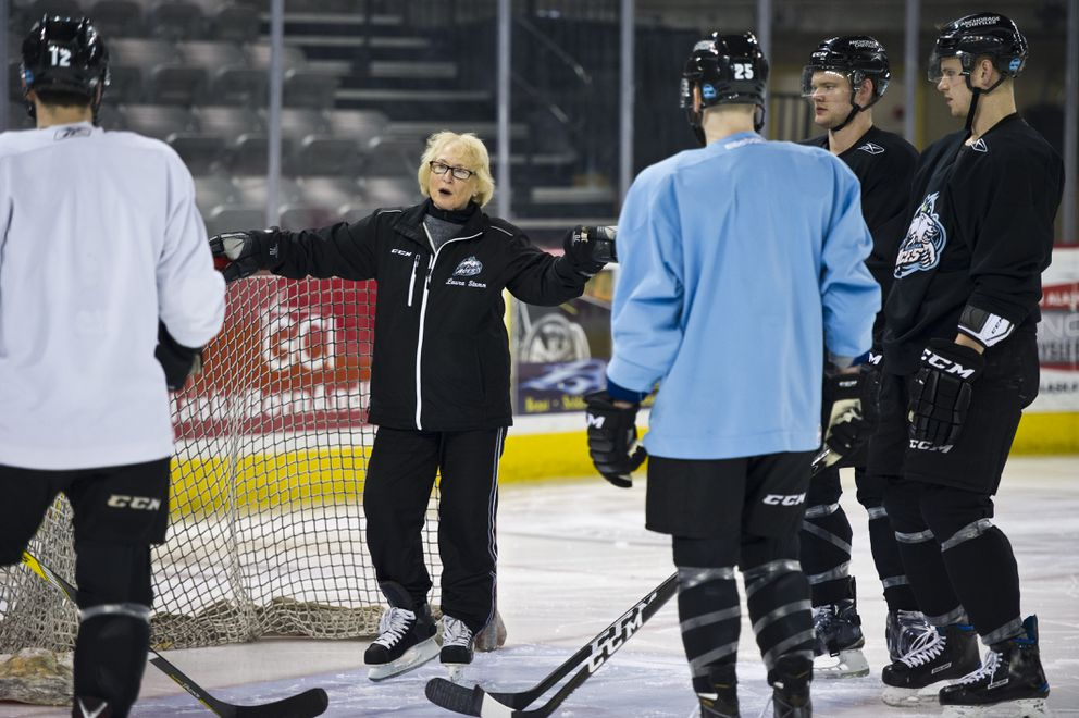 Laura Stamm works with Alaska Aces players at Sullivan Arena. (Marc Lester / Alaska Dispatch News)