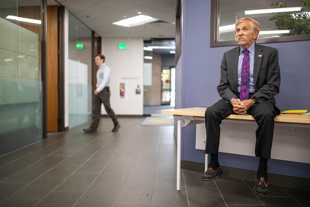 Rep. Laddie Shaw, R-Anchorage, waits outside a meeting of Senate Republicans Thursday, Sept. 19, 2019 at the Anchorage Legislative Information Office. The group of 12 republicans failed to confirm Shaw to the Senate seat vacated by the death of Sen. Chris Birch, R-Anchorage. (Loren Holmes / ADN)