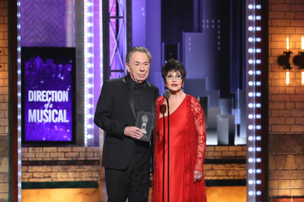 Andrew Lloyd Webber and Chita Rivera present at the 72nd Annual Tony Awards at Radio City Music Hall in New York, June 10, 2018. (Sara Krulwich/The New York Times)