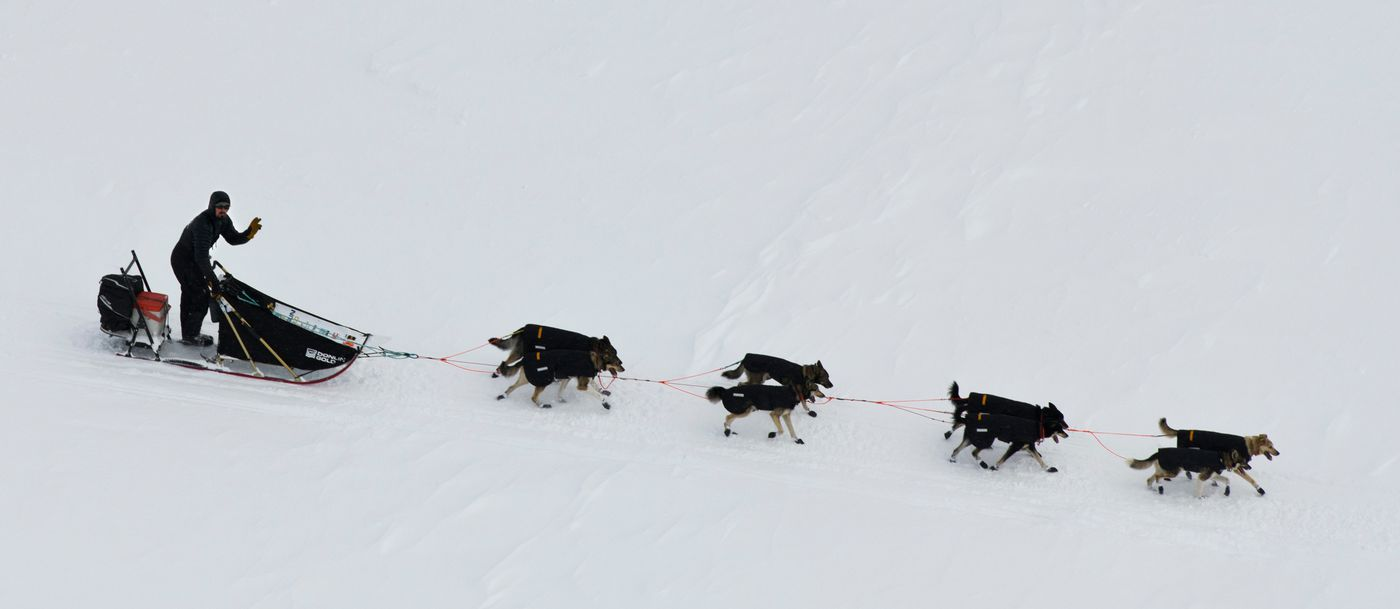Peter Kaiser heads toward Nome about 15 miles west of the White Mountain checkpoint of the Iditarod Trail Sled Dog Race on March 12. (Marc Lester / ADN)