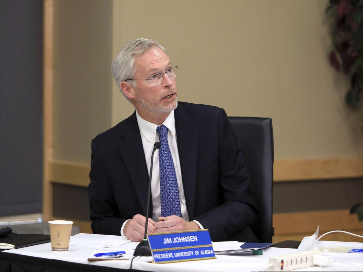 University of Alaska President Jim Johnsen speaks at a UA Board of Regents meeting, Tuesday, July 30, 2019, in Anchorage, Alaska. (AP Photo/Dan Joling)