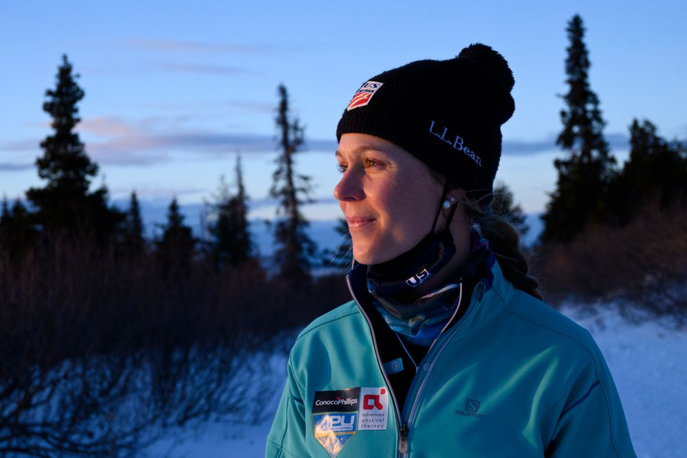 Sadie Maubet Bjornsen, veteran cross-country racer on the World Cup circuit, decided to spend more time in Anchorage this winter. Photographed on January 13, 2021. (Marc Lester / ADN)