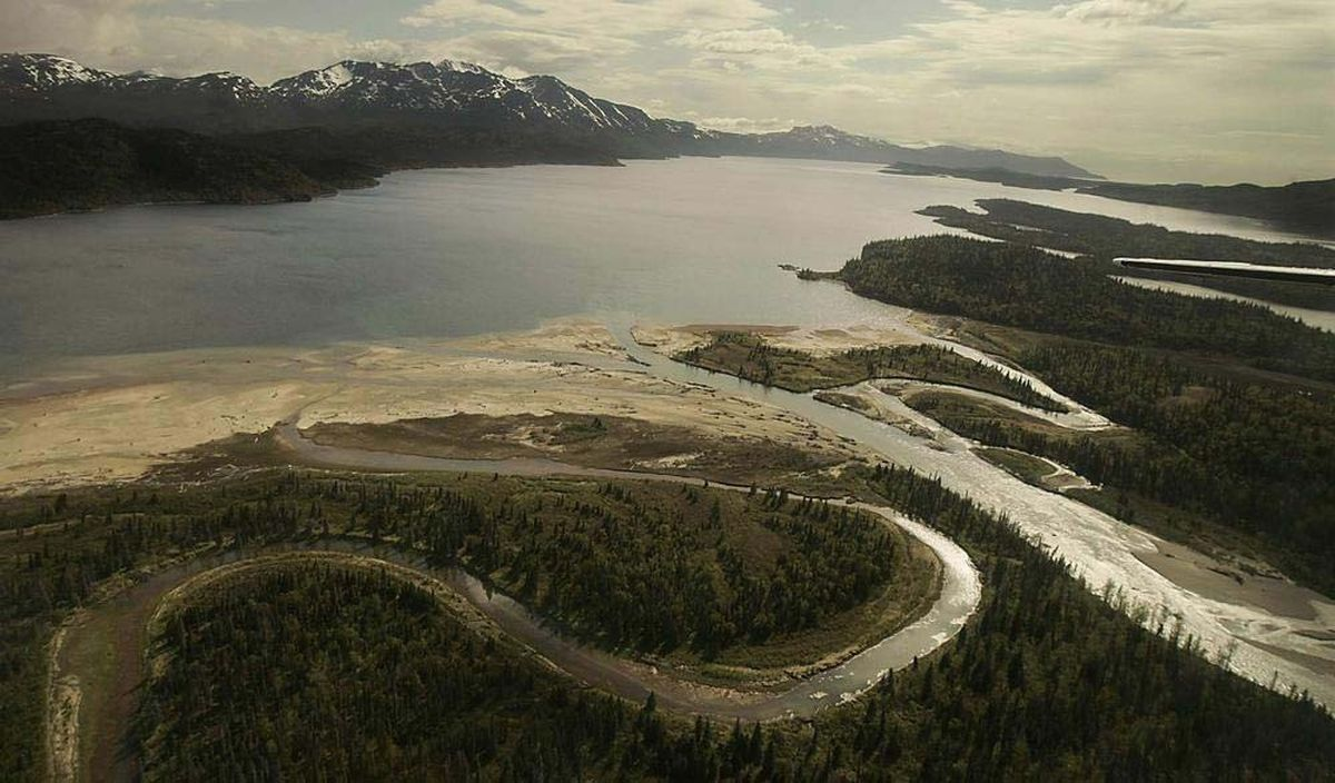 The Pile River flows into Lake Iliamna, nursery of many sockeye salmon, in the Bristol Bay region of Alaska. The Pebble Mine would sit just above the lake. (Luis Sinco/Los Angeles Times/MCT)
