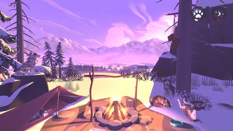 Image from 'The Red Lantern, ' a video game where players navigate Alaska via dog sled. (Screen capture via Timberline Studio)