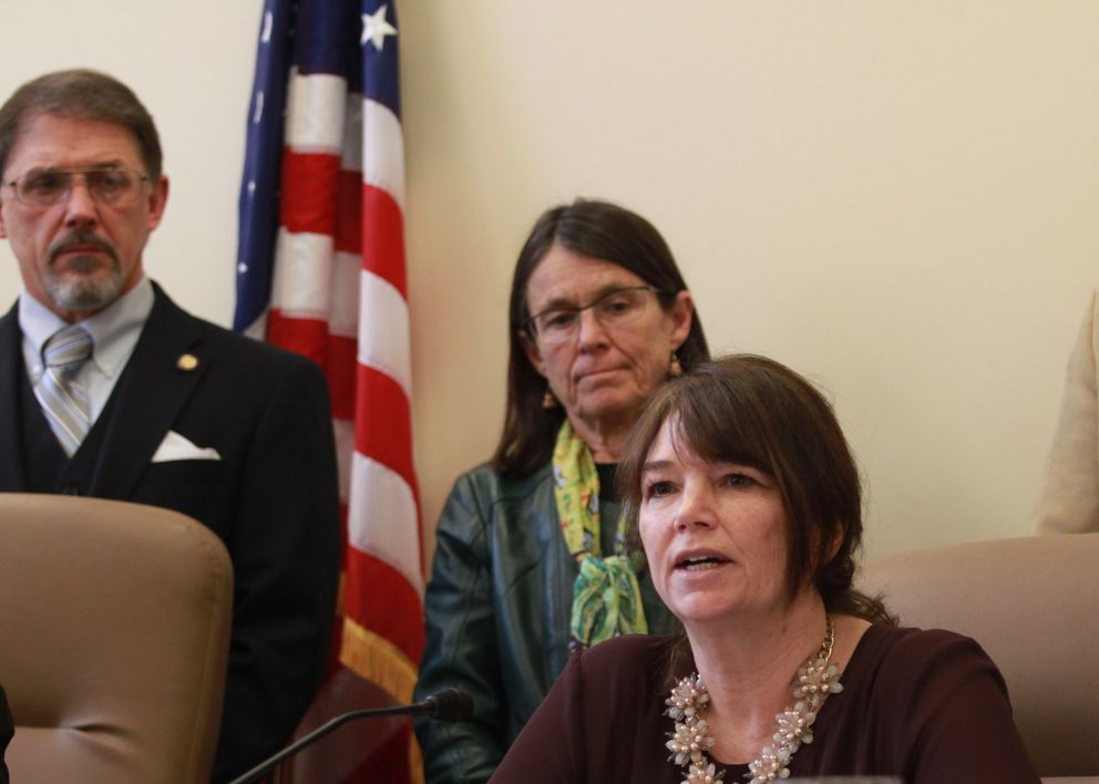 House Minority Leader Charisse Millett, R-Anchorage, speaks at a Capitol news conference with members of the GOP minority Thursday. (Nathaniel Herz / Alaska Dispatch News)
