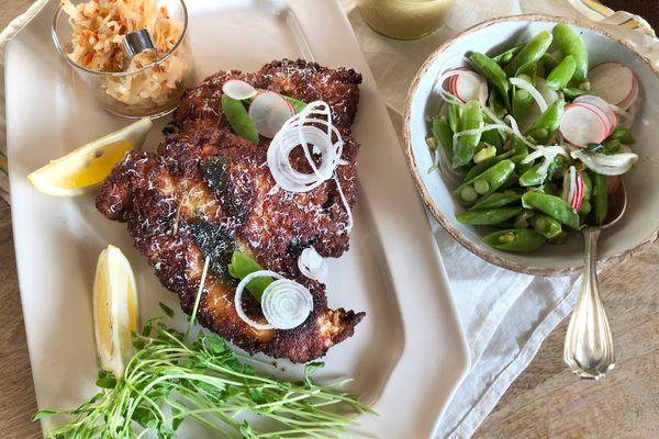 Pan fried chicken primavera. (Photo by Kim Sunee)