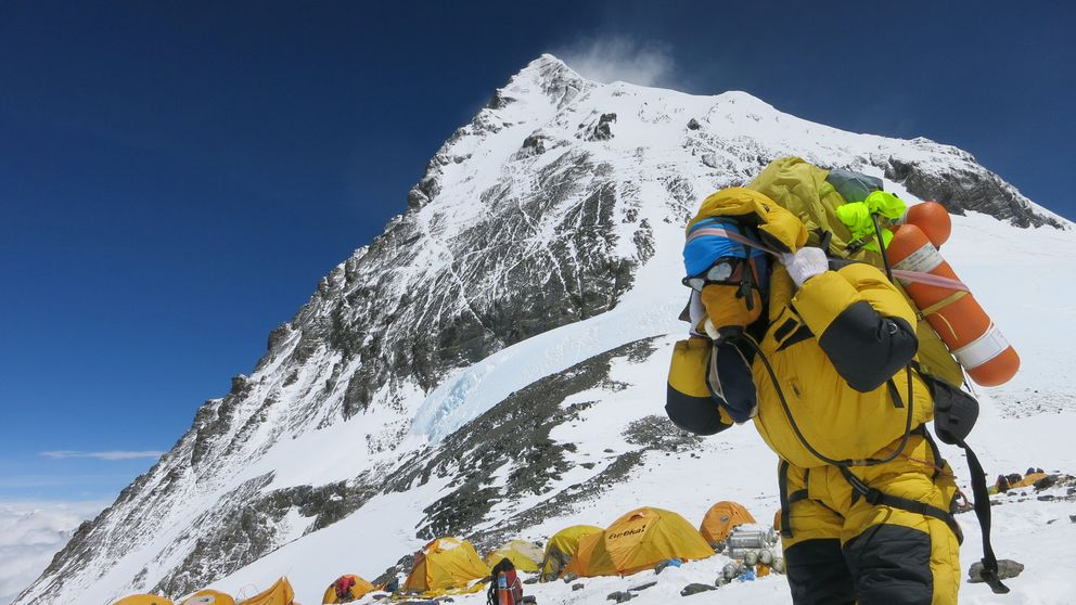 A porter carries goods at Camp 4 of Mount Everest, May 20, 2016. Phurba Tenjing Sherpa/Handout via REUTERS