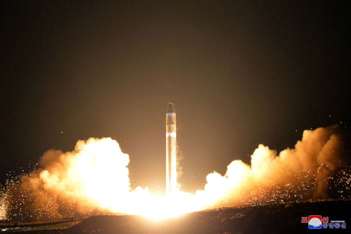 North Korea tests its Hwasong-15, a missile that could threaten all of the United States, on Nov. 29, 2017. (KCNA via The New York Times)