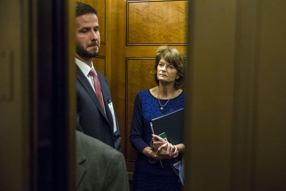 Sen. Lisa Murkowski, R-Alaska, takes an elevator on Capitol Hill in Washingtonon Wednesday. (Al Drago / The New York Times)