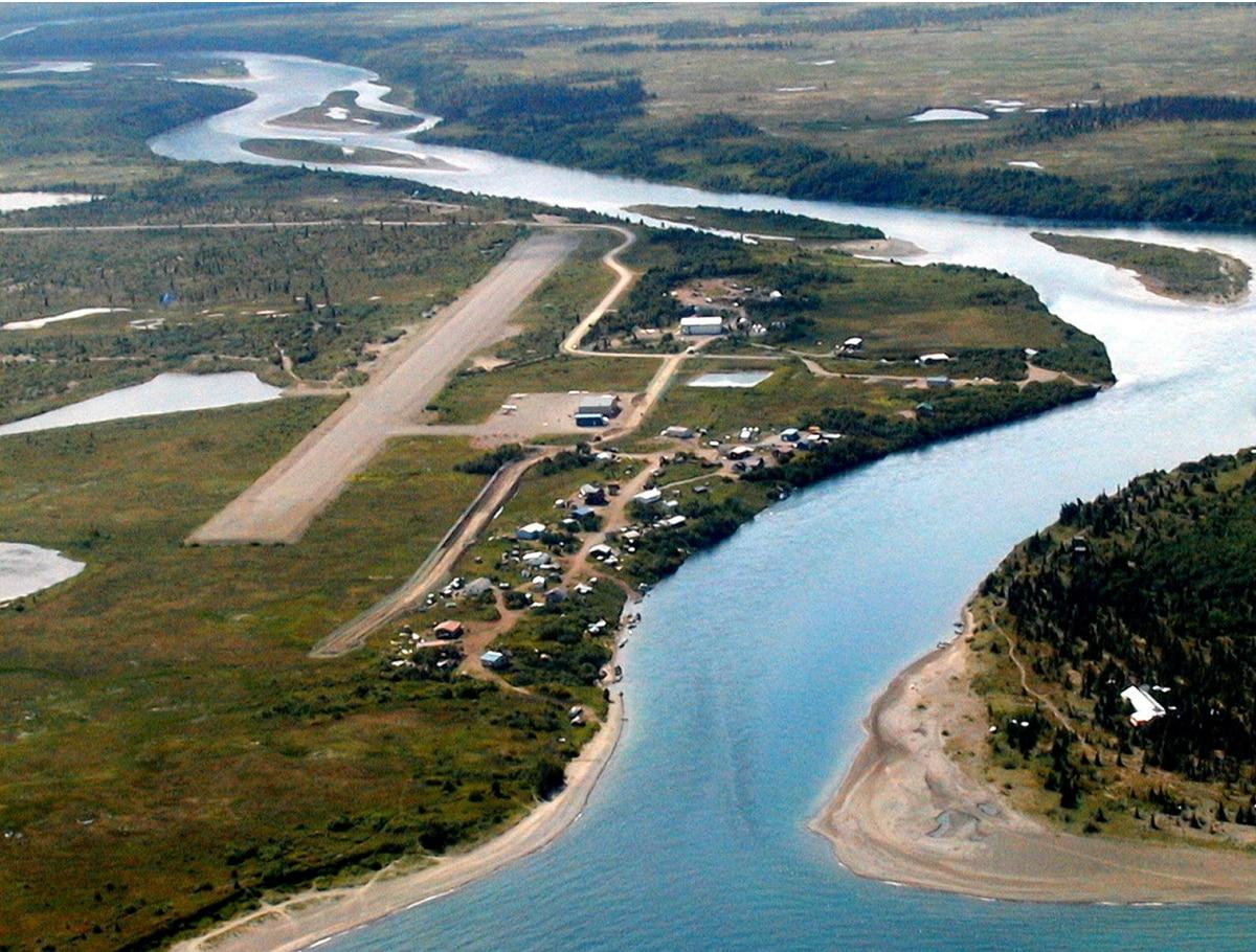 Undated aerial photo of Igiugig, Alaska, on the Kvichak River. (Alaska Department of Transportation and Public Facilities)