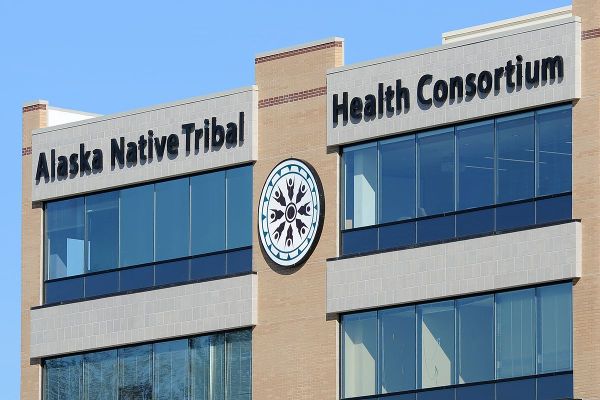 The Alaska Native Tribal Health Consortium logo adorns its office building Friday on the Alaska Native Health Campus. (Erik Hill / Alaska Dispatch News)