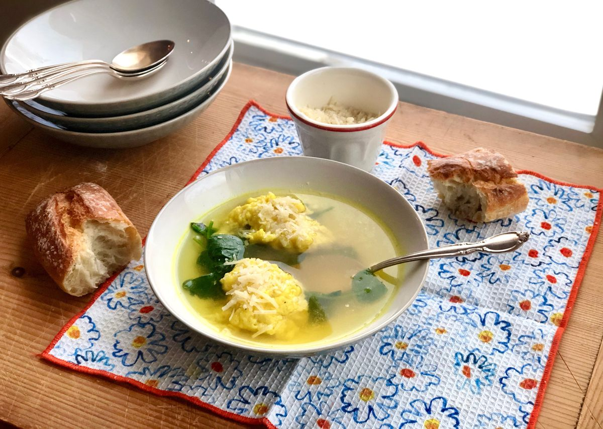 Broth with spinach and Parmesan dumplings (Kim Sunée)