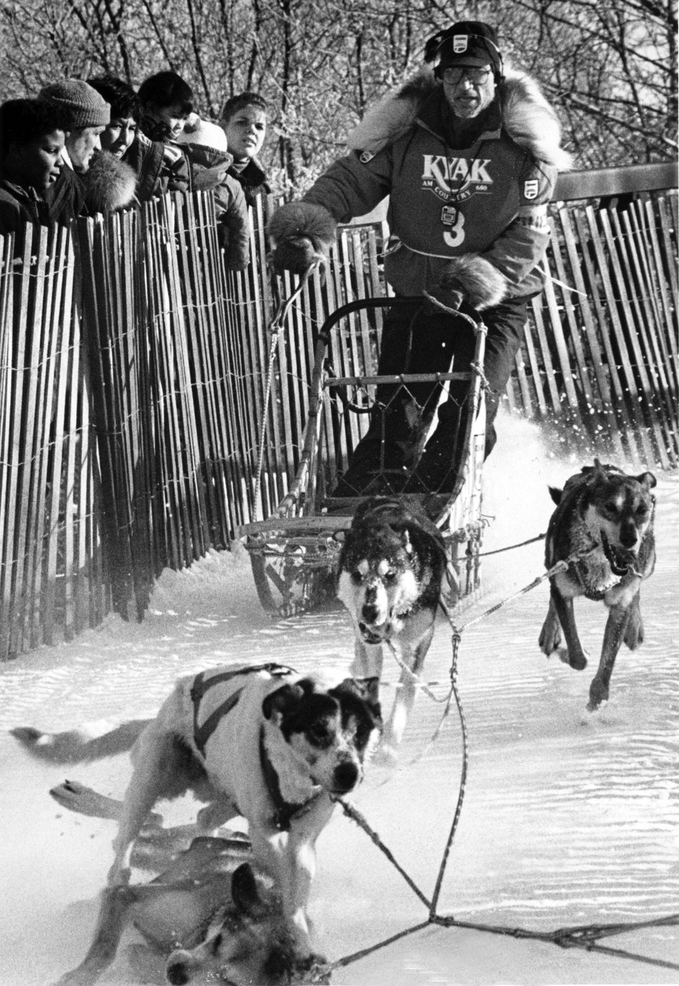 George Attla hits the brakes after crossing the Chester Creek bridge to pick up one of his dogs during the 1989 Fur Rondy races. (Bill Roth / ADN archive)
