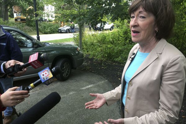 U.S. Sen. Susan Collins (R-Maine), speaks to the media on Friday, Sept. 21, 2018, in Portland, Maine. Collins said she's
