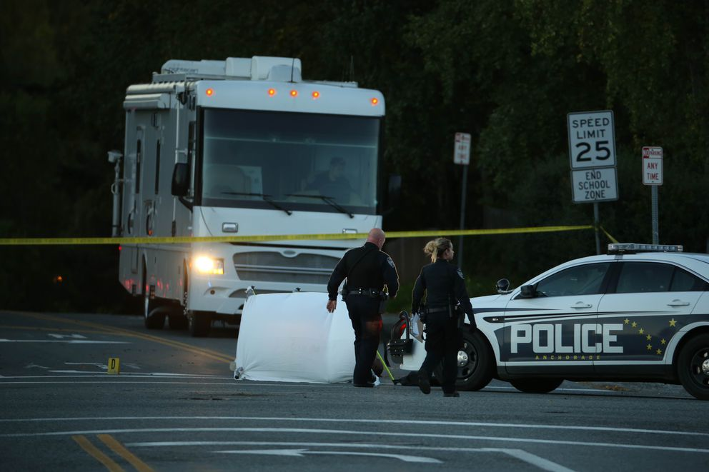 Anchorage police investigateda fatal shooting near 15th Avenue and E Street early Tuesday. (Loren Holmes / ADN)