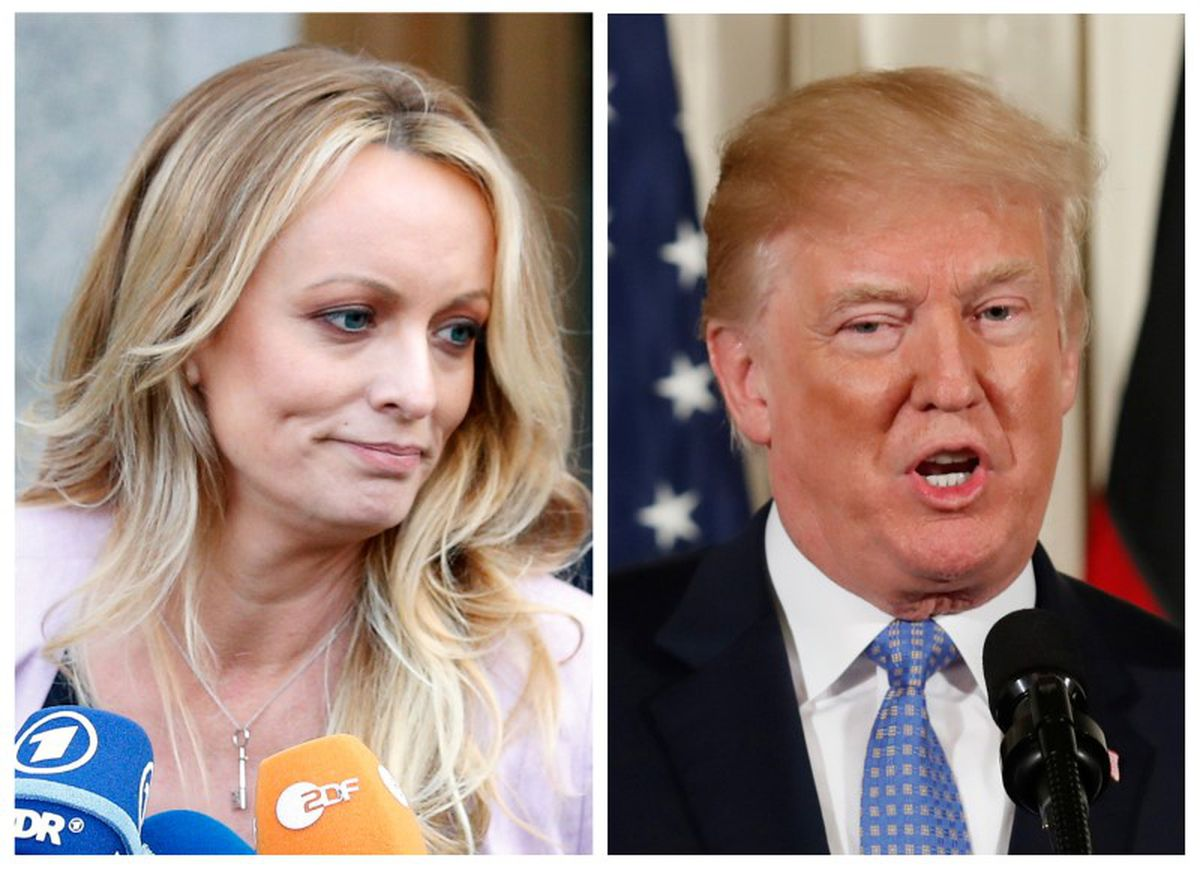 Stephanie Clifford, also known as Stormy Daniels, left, and President Donald Trump. REUTERS/Brendan Mcdermid (L) REUTERS/Joshua Roberts (R)/File Photos