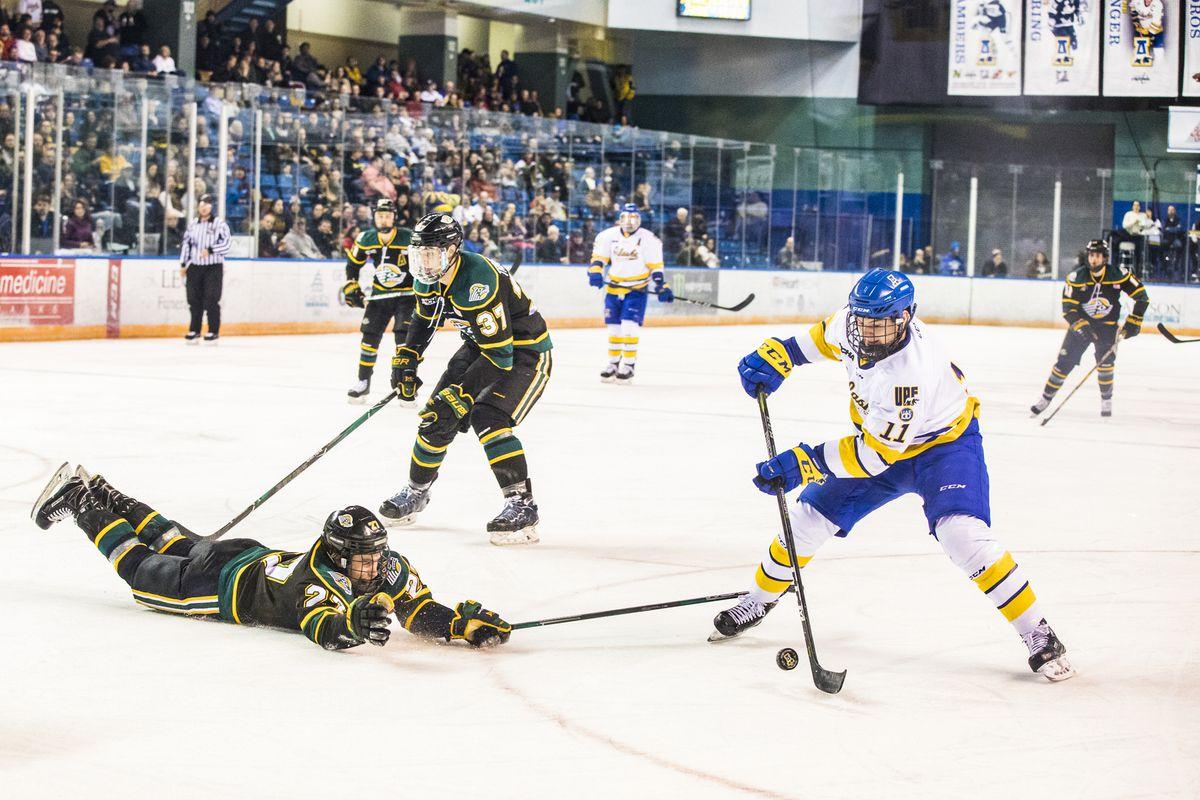 University of Alaska Fairbanks hockey team forward Steven Jandric in action against the UAA Seawolves. (Photo by JR Ancheta)