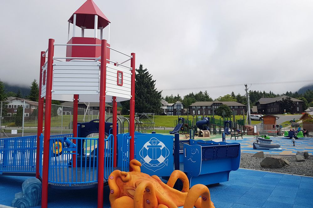The new Sitka Community Park is convenient to downtown and is suited for kids of diverse ages and abilities. (Photo by Erin Kirkland)