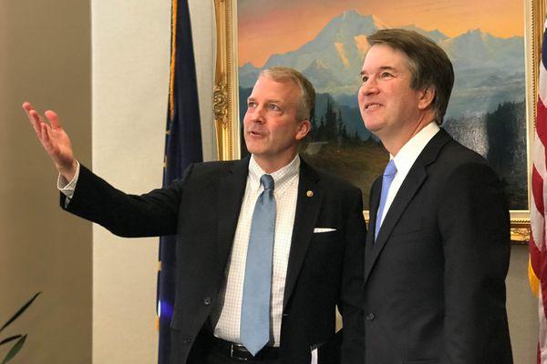 Alaska Sen. Dan Sullivan meets with Supreme Court nominee Brett Kavanaugh in Sullivan's Washington, D.C., office on Thursday, July 12, 2018. (Erica Martinson / ADN)