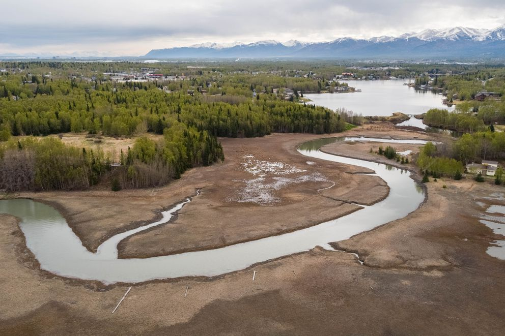 Campbell Creek empties out of Campbell Lake Wednesday, May 16, 2018 at the Campbell Creek Estuary Park, at left. The Friends of the Anchorage Coastal Wildlife Refuge are spearheading an effort to ban pets from this fragile South Anchorage estuary. (Loren Holmes / ADN)