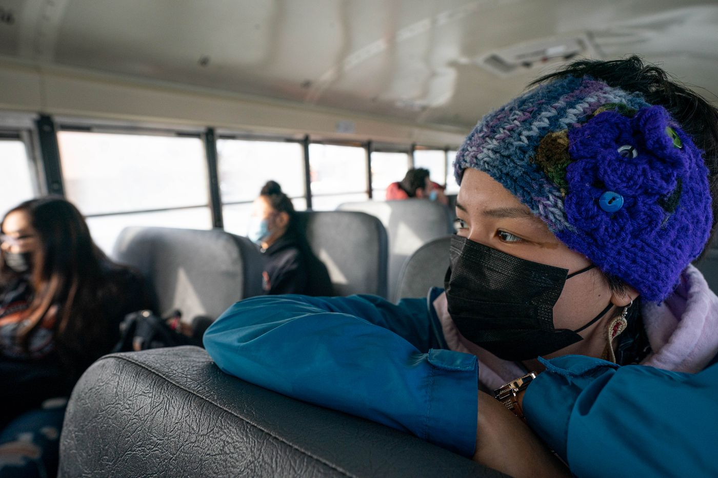 Kusilvak Career Academy student Lynese Smith rides a bus to King Tech High School on April 2, 2021. Smith, who is from Hooper Bay, is taking carpentry classes at King Tech. (Loren Holmes / ADN)