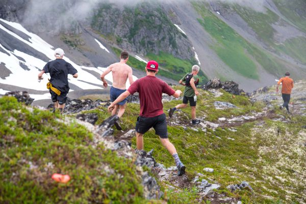 Runners make their way down the mountain Sunday during the Alyeska Cirque Race on Sunday, Aug. 5, 2018.