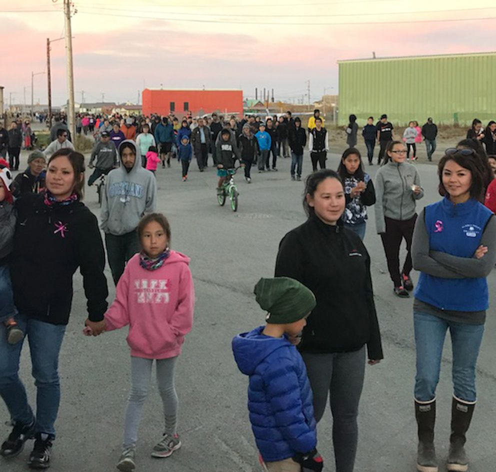 Hundreds of people in Kotzebue turned out for a candlelight vigil for Ashley Johnson-Barr, the 10-year-old missing for more than a week, on Thursday, Sept. 13 2018. (Photo by Kookie Ito)