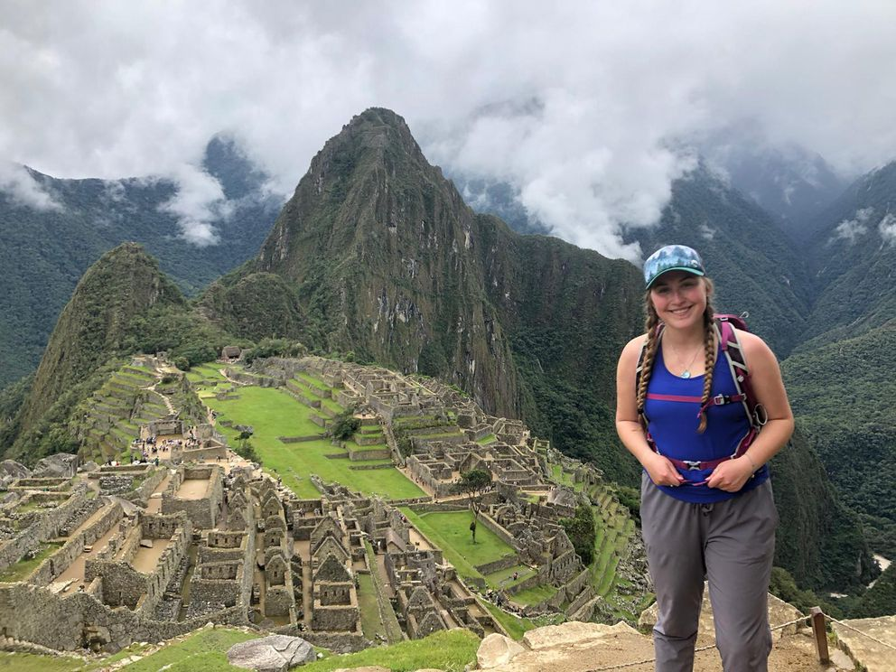 Brenna McCarron of Homer, 19, is stranded in Peru after the country shut down its borders March 16. Here, McCarron is at Machu Picchu. (Photo courtesy of Brenna McCarron)